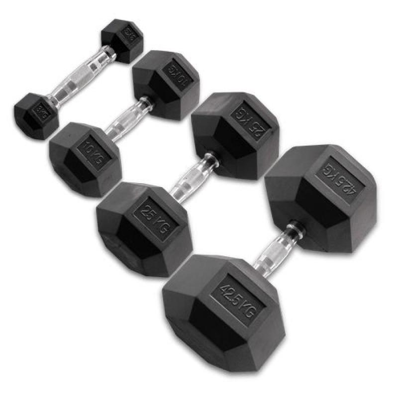 ALLproducts Body Solid Hexagon Rubber Dumbbell – 15 kg – p--paar