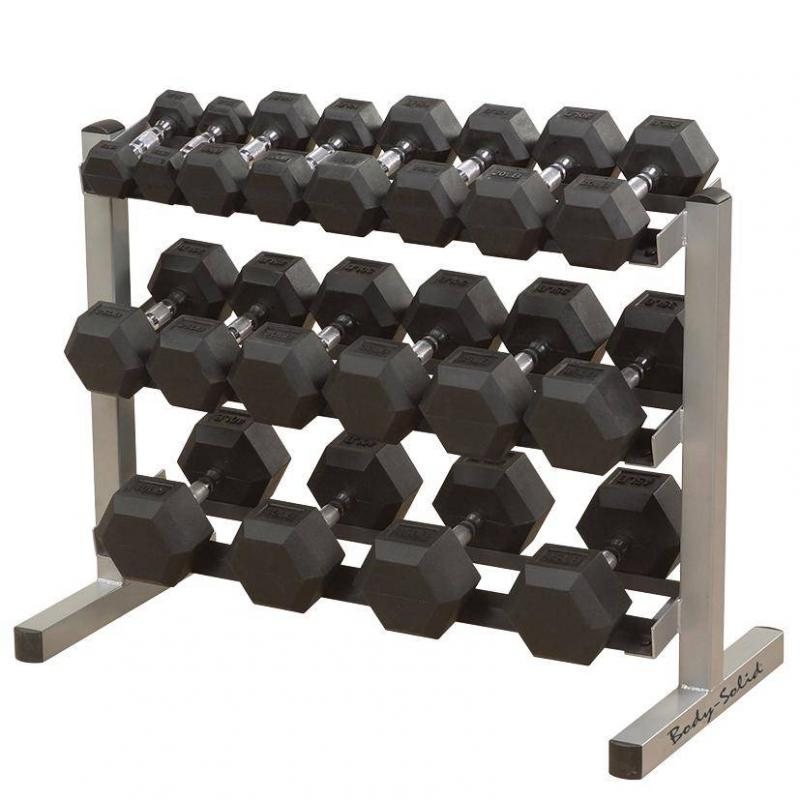 - Body Solid Hexagon Rubber Dumbbell – 17,5 kg – p--paar